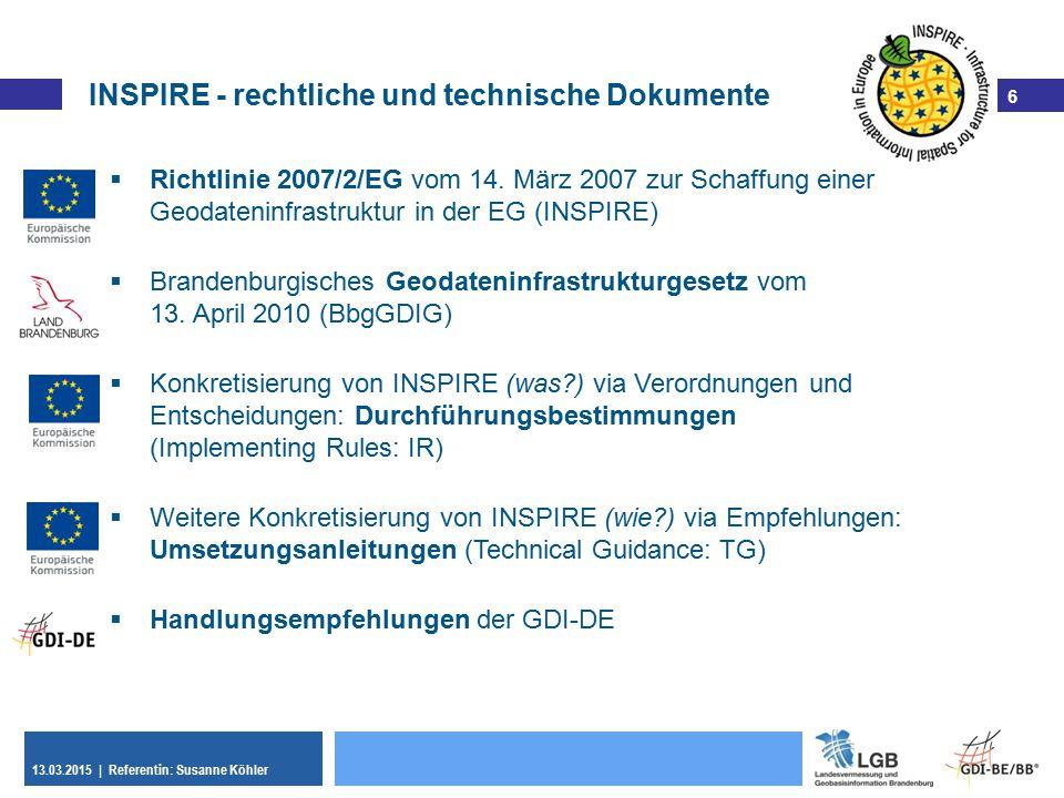 INSPIRE - rechtliche und technische Dokumente