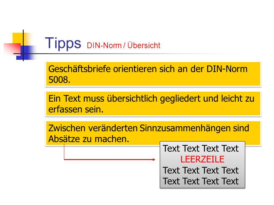 Tipps DIN-Norm / Übersicht