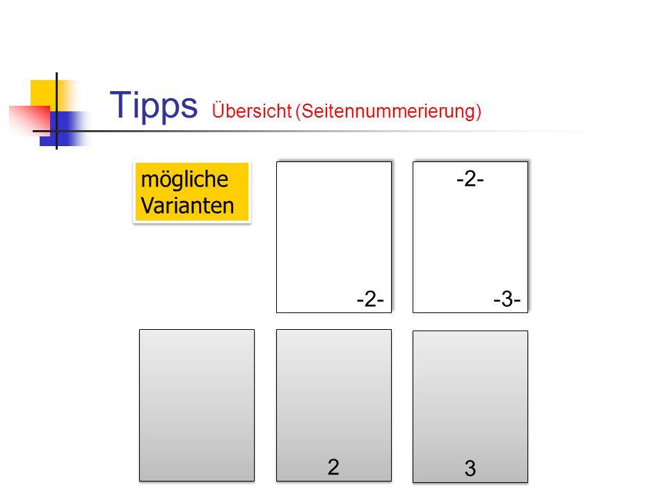 Tipps Übersicht (Seitennummerierung)