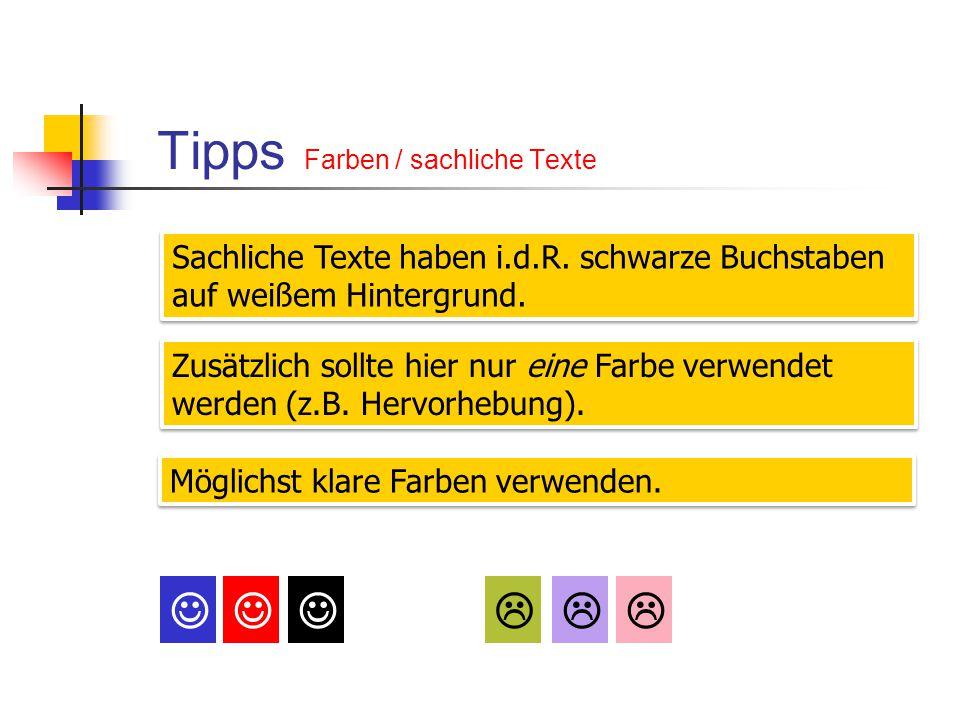 Tipps Farben / sachliche Texte