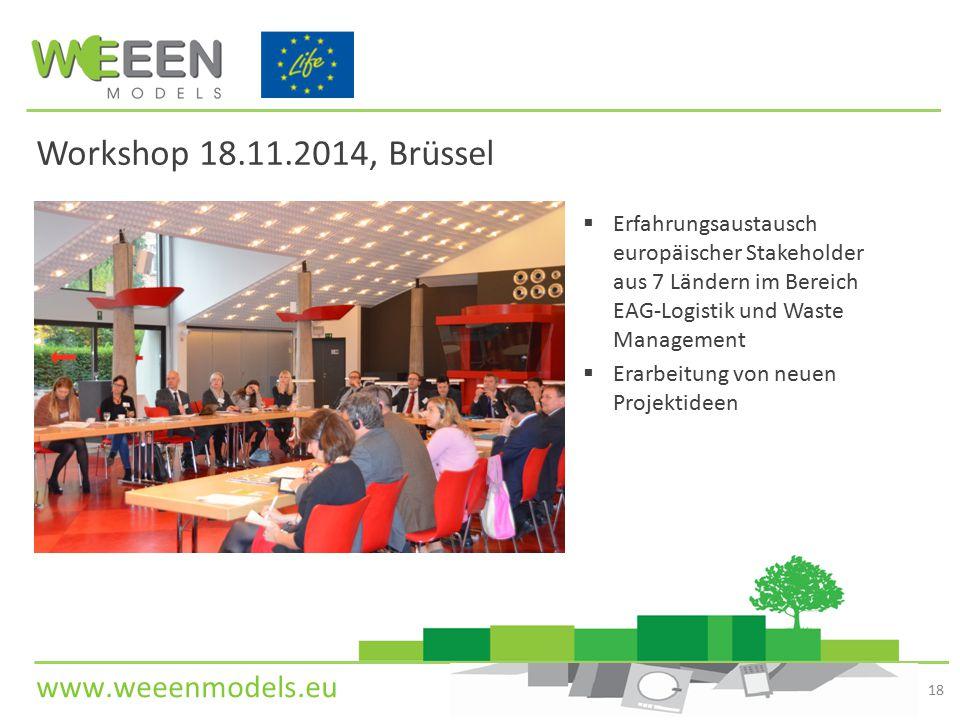 Workshop 18.11.2014, Brüssel Erfahrungsaustausch europäischer Stakeholder aus 7 Ländern im Bereich EAG-Logistik und Waste Management.