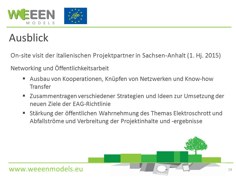 Ausblick On-site visit der italienischen Projektpartner in Sachsen-Anhalt (1. Hj. 2015) Networking und Öffentlichkeitsarbeit.