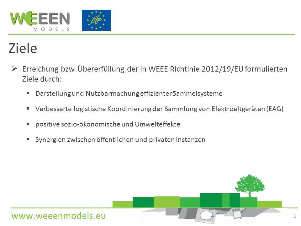Ziele Erreichung bzw. Übererfüllung der in WEEE Richtinie 2012/19/EU formulierten Ziele durch: