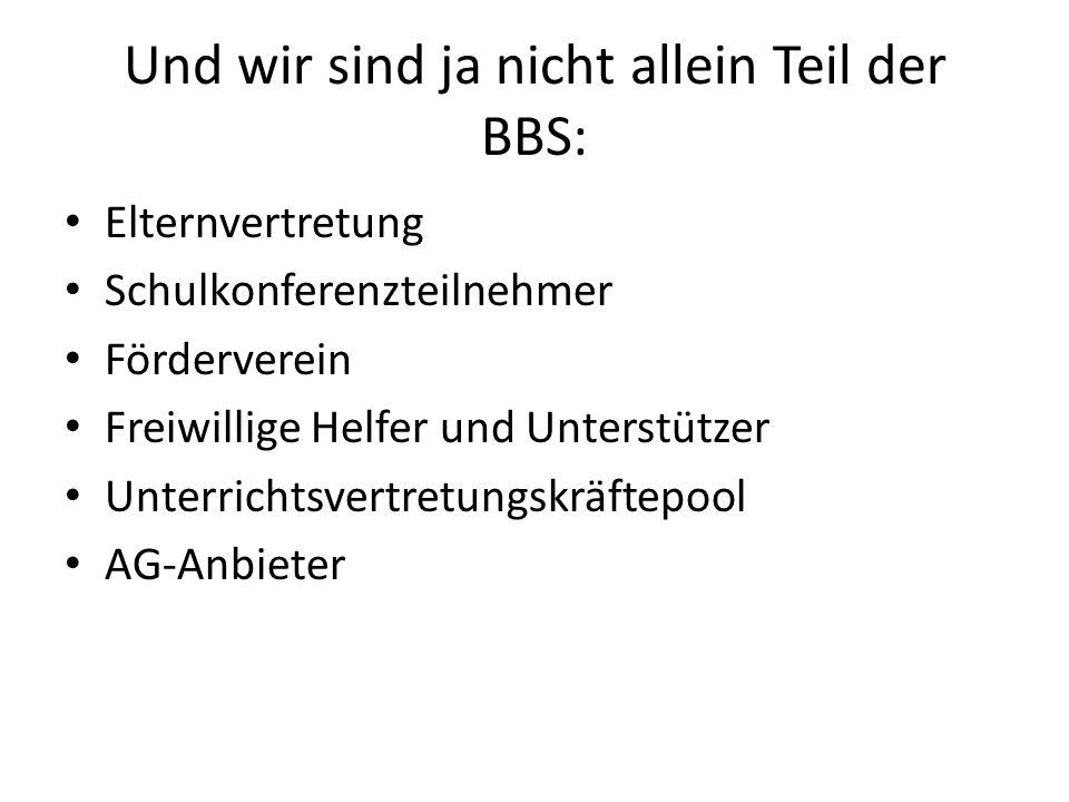 Und wir sind ja nicht allein Teil der BBS: