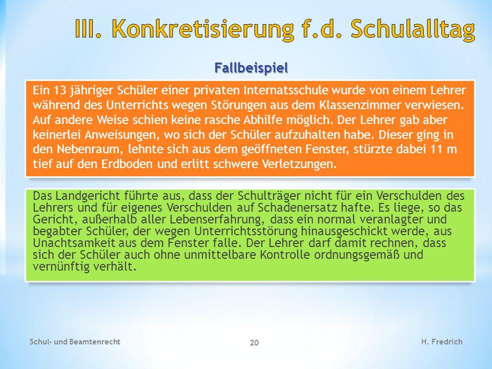 III. Konkretisierung f.d. Schulalltag