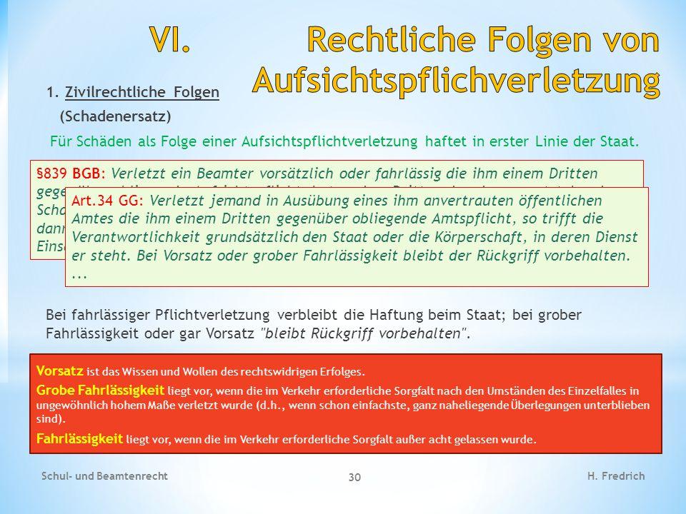 VI. Rechtliche Folgen von Aufsichtspflichverletzung
