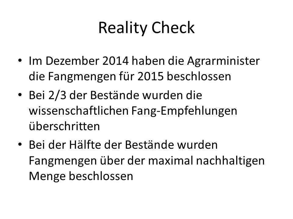 Reality Check Im Dezember 2014 haben die Agrarminister die Fangmengen für 2015 beschlossen.