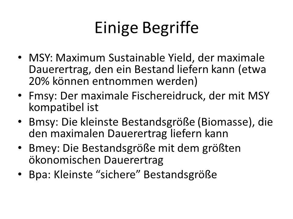 Einige Begriffe MSY: Maximum Sustainable Yield, der maximale Dauerertrag, den ein Bestand liefern kann (etwa 20% können entnommen werden)