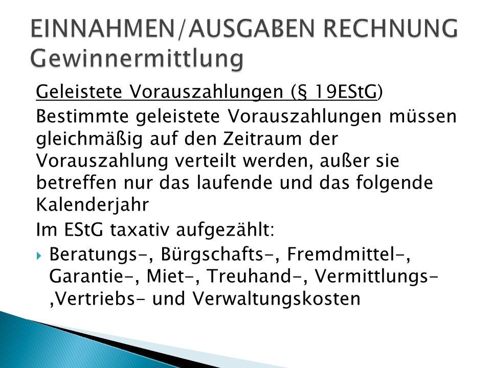 EINNAHMEN/AUSGABEN RECHNUNG Gewinnermittlung