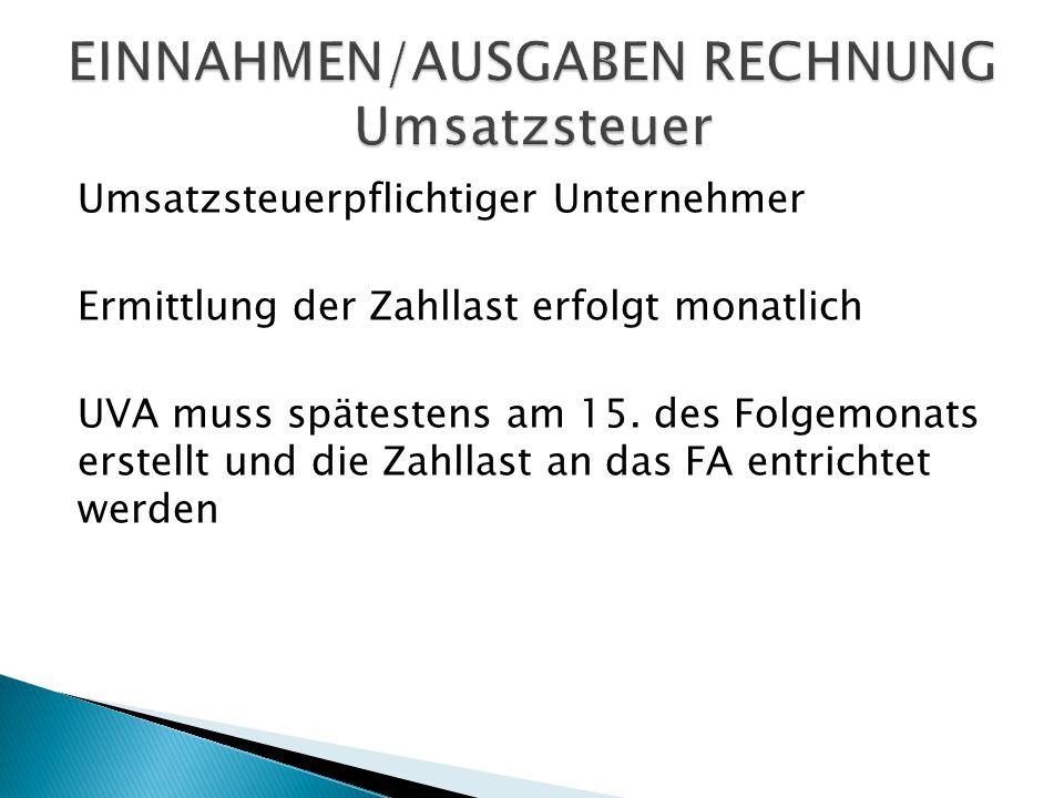 EINNAHMEN/AUSGABEN RECHNUNG Umsatzsteuer