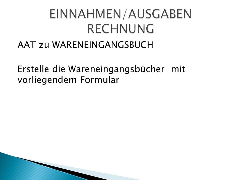EINNAHMEN/AUSGABEN RECHNUNG