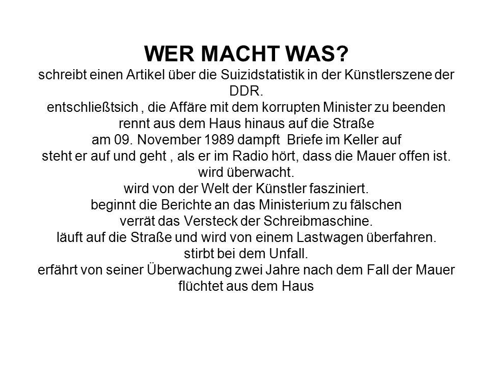 WER MACHT WAS. schreibt einen Artikel über die Suizidstatistik in der Künstlerszene der DDR.
