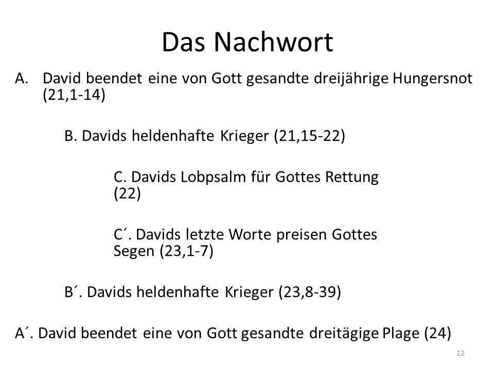 Das Nachwort David beendet eine von Gott gesandte dreijährige Hungersnot (21,1-14) B. Davids heldenhafte Krieger (21,15-22)