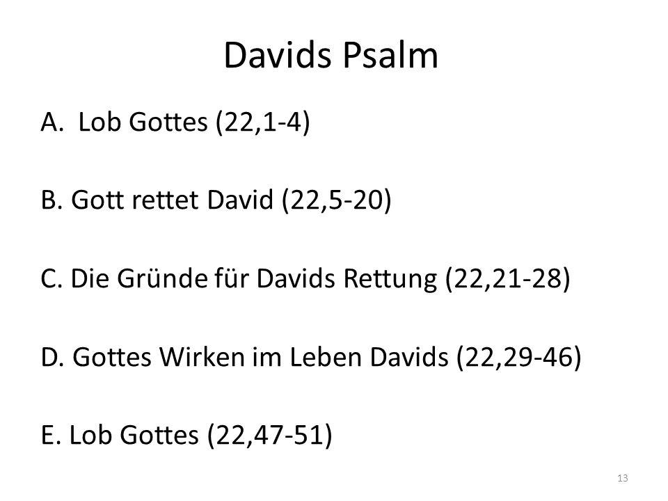 Davids Psalm Lob Gottes (22,1-4) B. Gott rettet David (22,5-20)