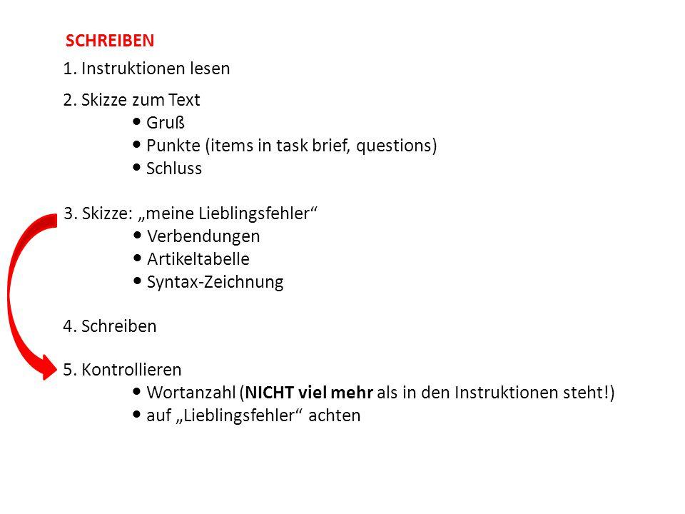SCHREIBEN 1. Instruktionen lesen. 2. Skizze zum Text  Gruß  Punkte (items in task brief, questions)  Schluss.