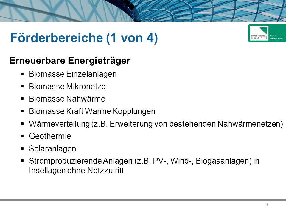 Förderbereiche (1 von 4) Erneuerbare Energieträger