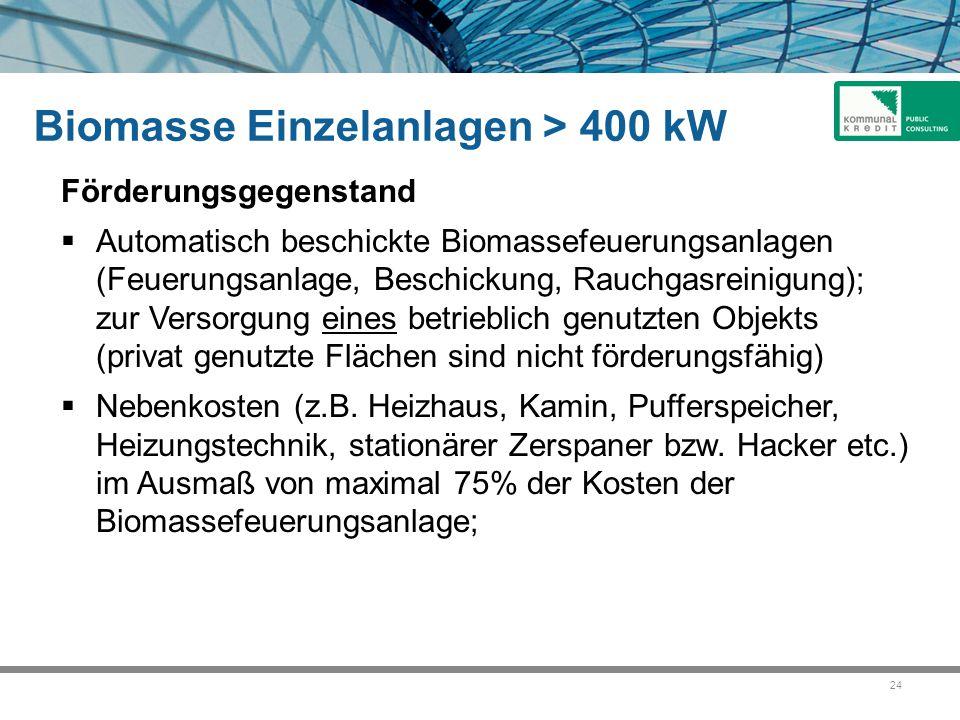 Biomasse Einzelanlagen > 400 kW