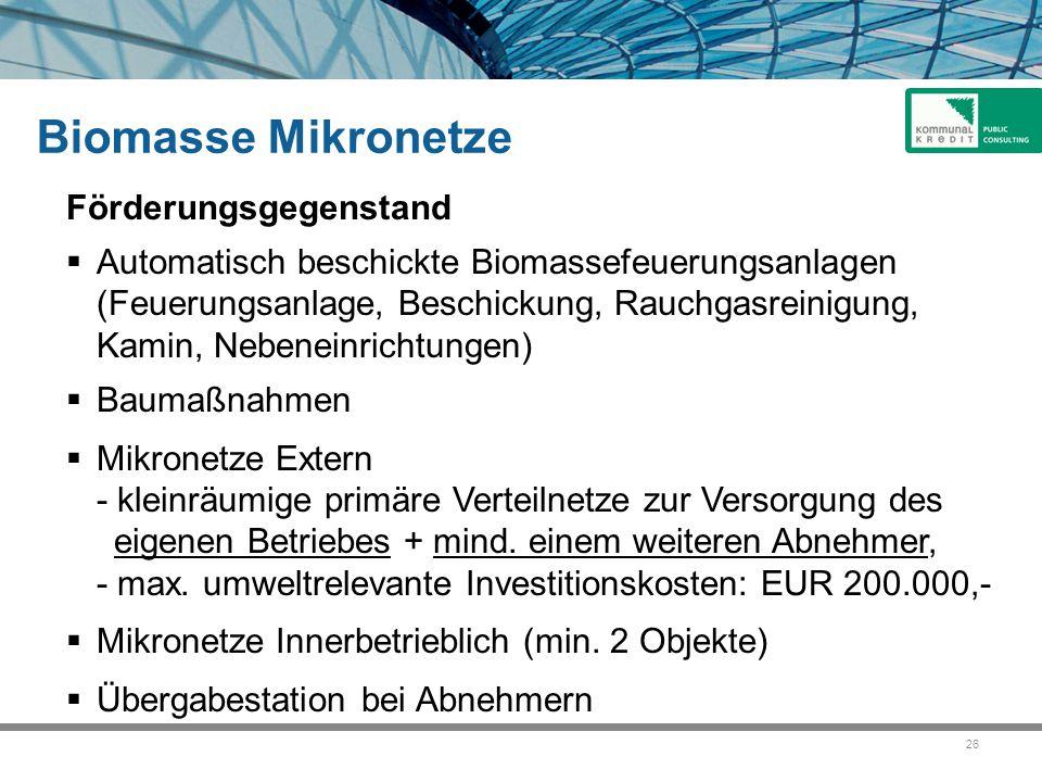 Biomasse Mikronetze Förderungsgegenstand