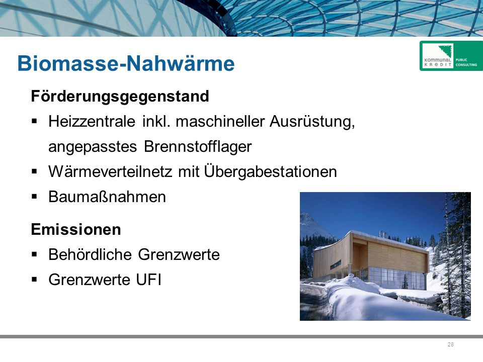 Biomasse-Nahwärme Förderungsgegenstand