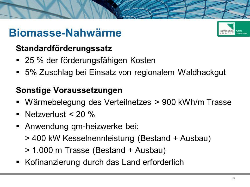 Biomasse-Nahwärme Standardförderungssatz