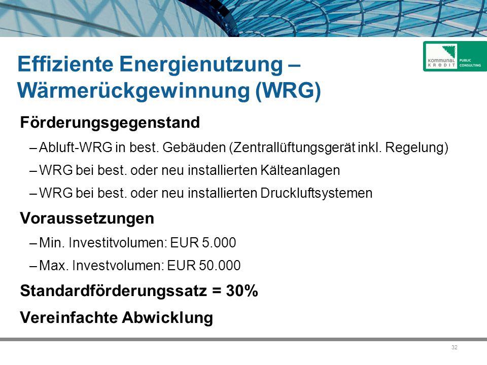 Effiziente Energienutzung – Wärmerückgewinnung (WRG)