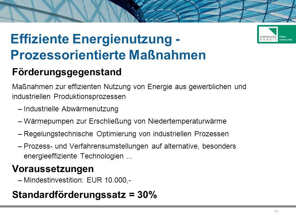 Effiziente Energienutzung - Prozessorientierte Maßnahmen