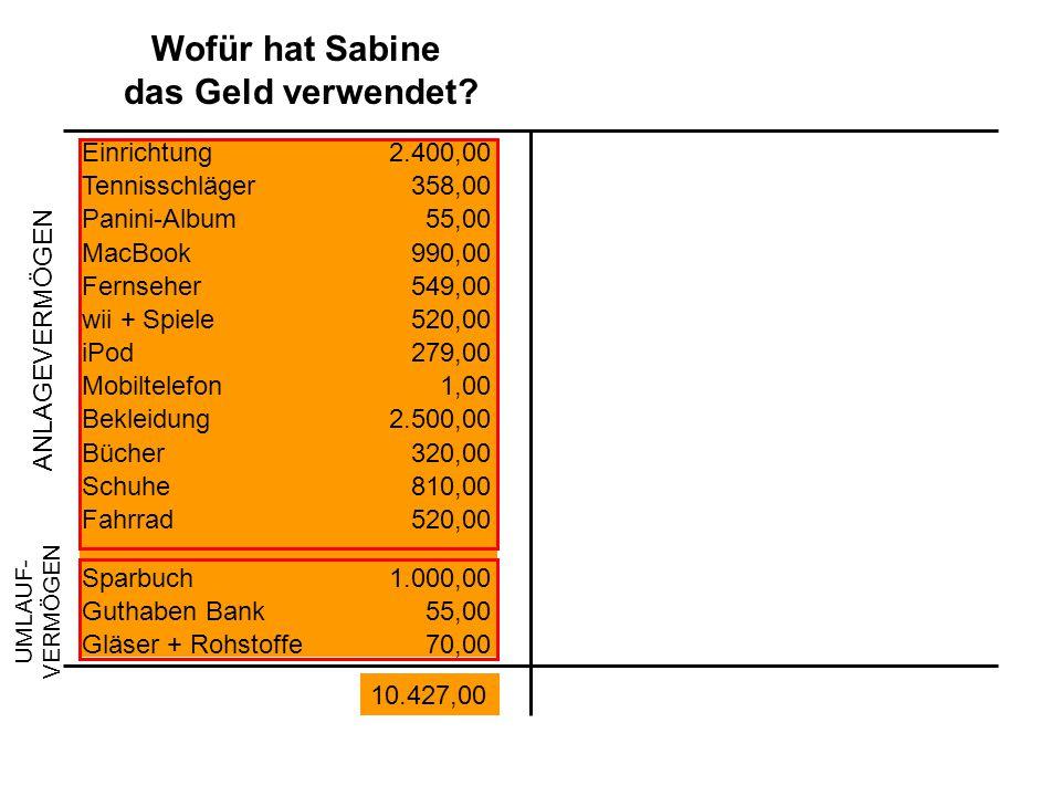 Wofür hat Sabine das Geld verwendet