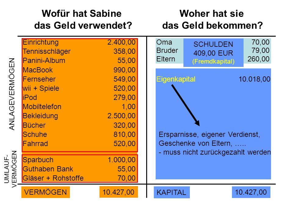 Wofür hat Sabine das Geld verwendet Woher hat sie das Geld bekommen