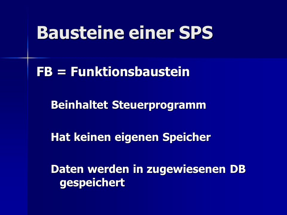 Bausteine einer SPS FB = Funktionsbaustein Beinhaltet Steuerprogramm