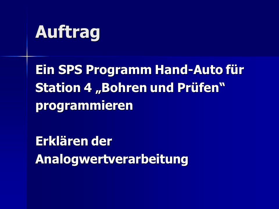 """Auftrag Ein SPS Programm Hand-Auto für Station 4 """"Bohren und Prüfen"""