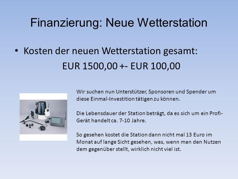 Finanzierung: Neue Wetterstation