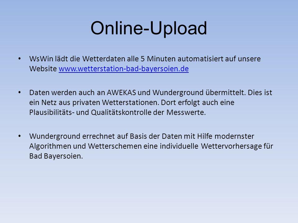 Online-Upload WsWin lädt die Wetterdaten alle 5 Minuten automatisiert auf unsere Website www.wetterstation-bad-bayersoien.de.