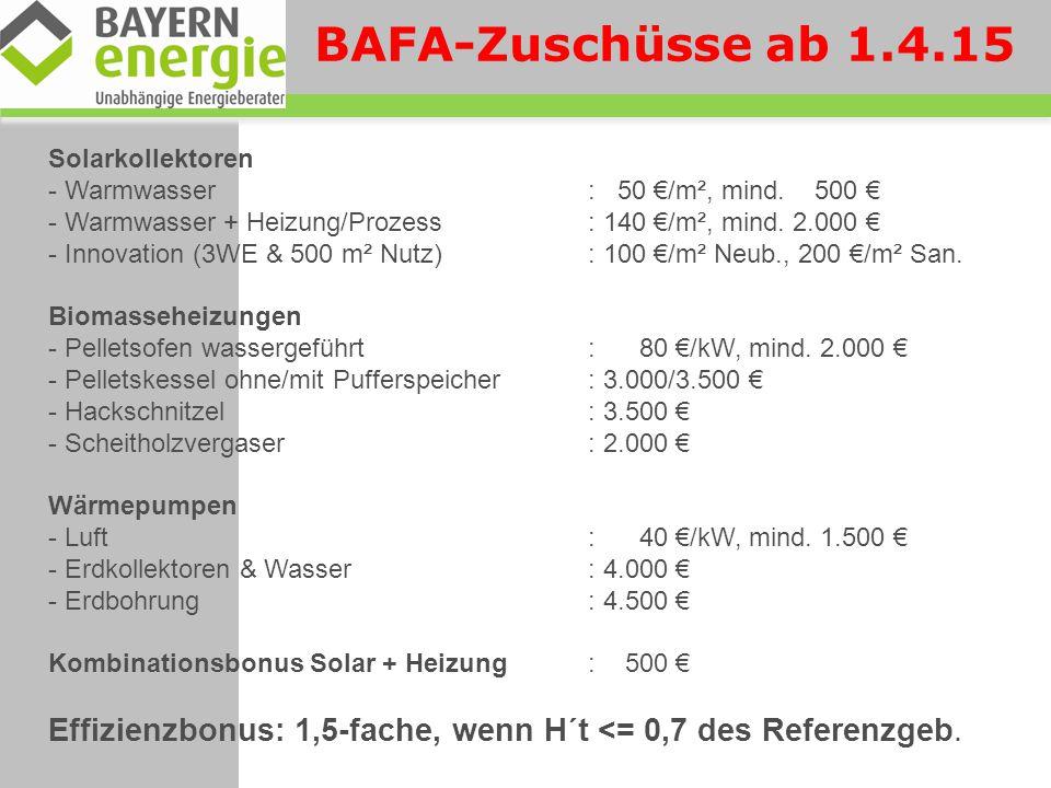BAFA-Zuschüsse ab 1.4.15 Solarkollektoren. Warmwasser : 50 €/m², mind. 500 €