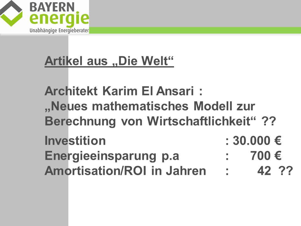 """Artikel aus """"Die Welt Architekt Karim El Ansari : """"Neues mathematisches Modell zur Berechnung von Wirtschaftlichkeit"""