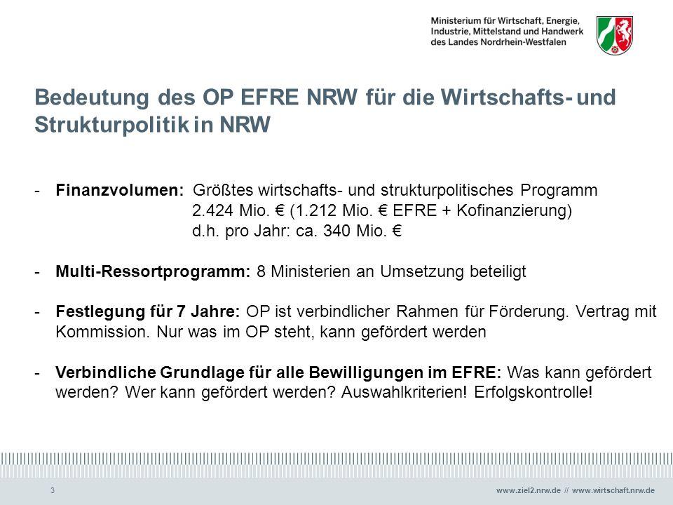 Bedeutung des OP EFRE NRW für die Wirtschafts- und Strukturpolitik in NRW