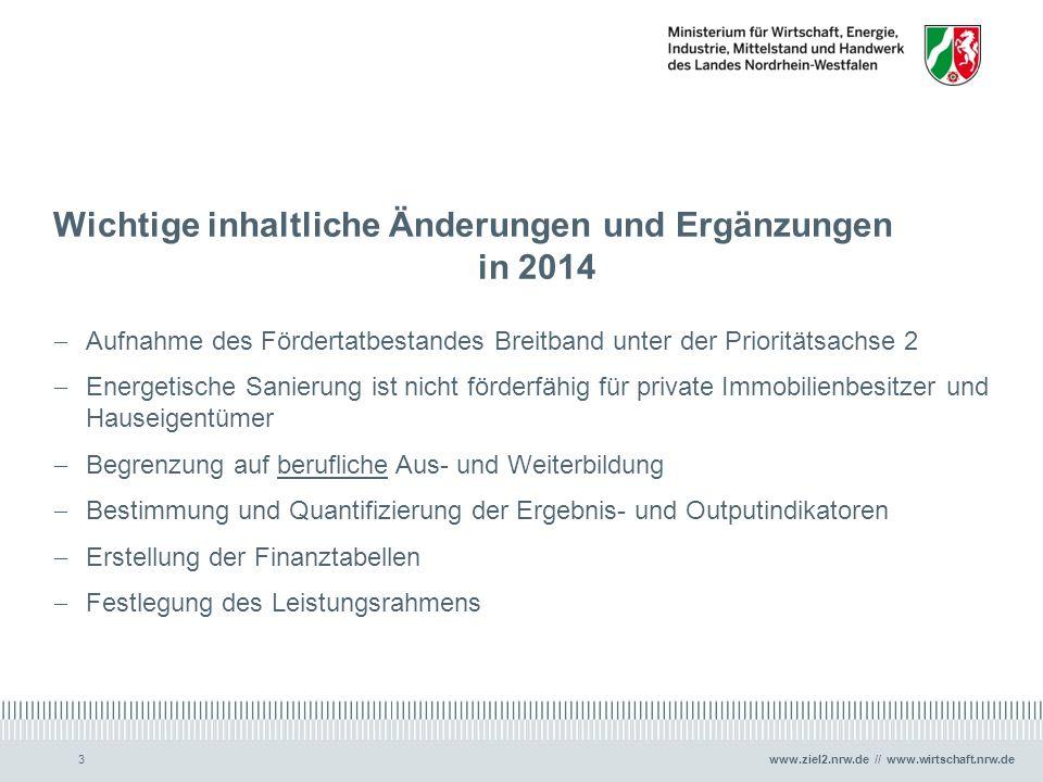Wichtige inhaltliche Änderungen und Ergänzungen in 2014