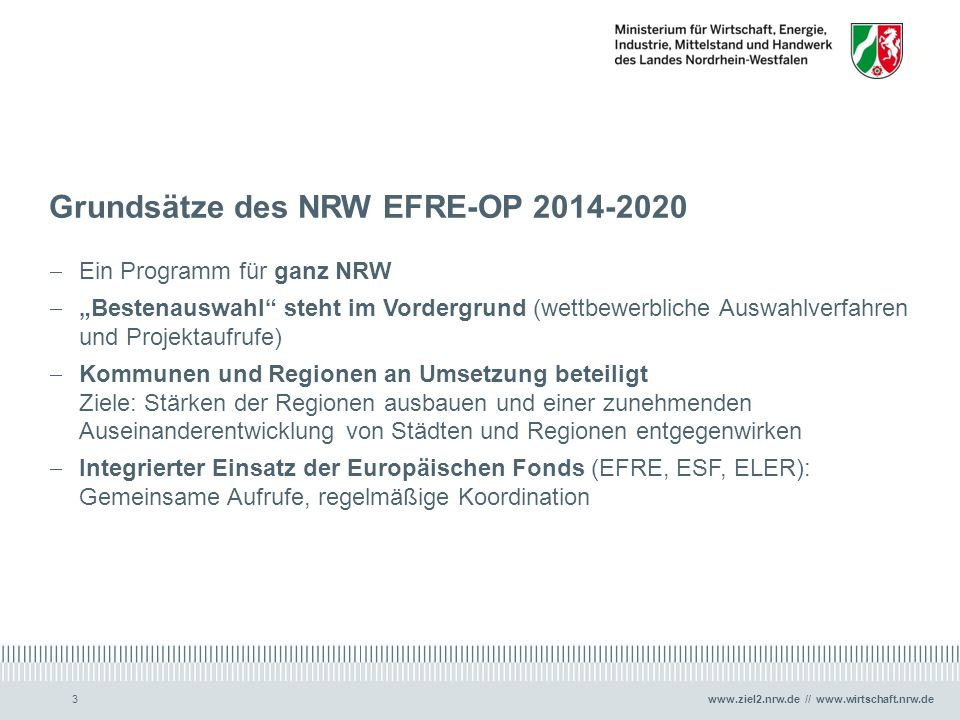 Grundsätze des NRW EFRE-OP 2014-2020