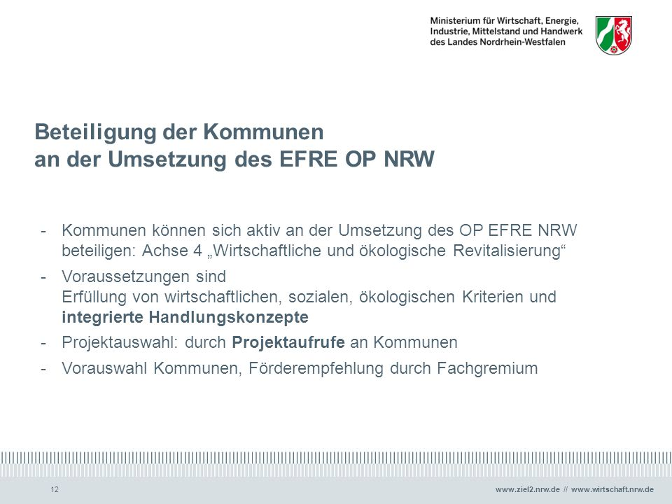 Beteiligung der Kommunen an der Umsetzung des EFRE OP NRW