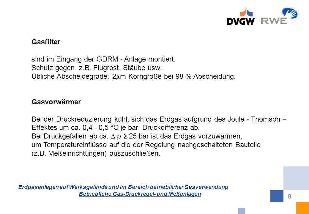 Gasfilter sind im Eingang der GDRM - Anlage montiert. Schutz gegen z.B. Flugrost, Stäube usw..