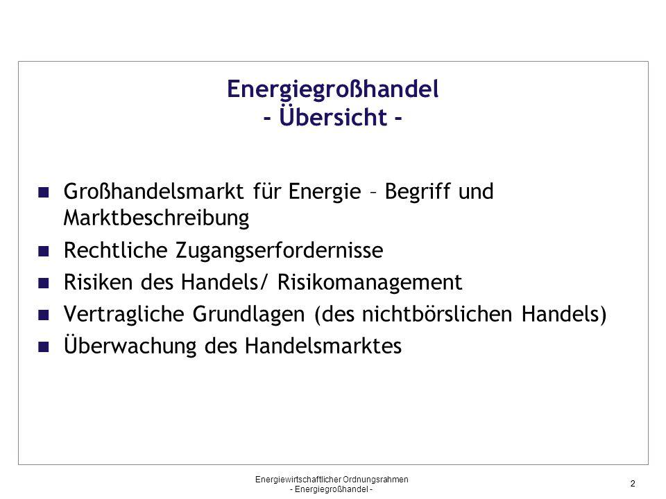 Energiegroßhandel - Übersicht -