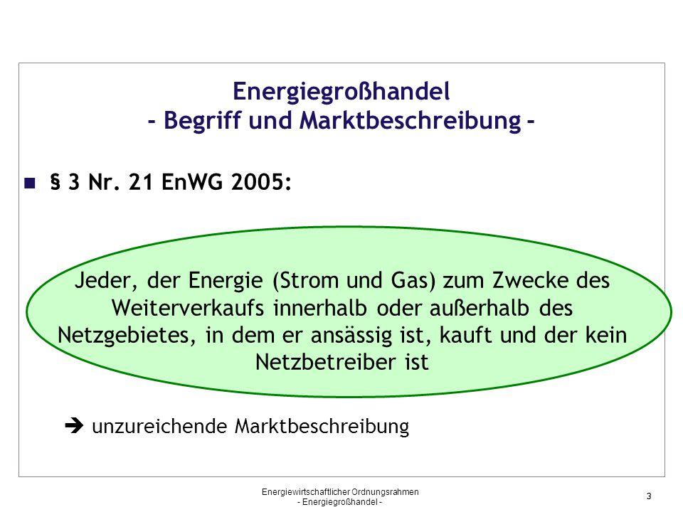 Energiegroßhandel - Begriff und Marktbeschreibung -