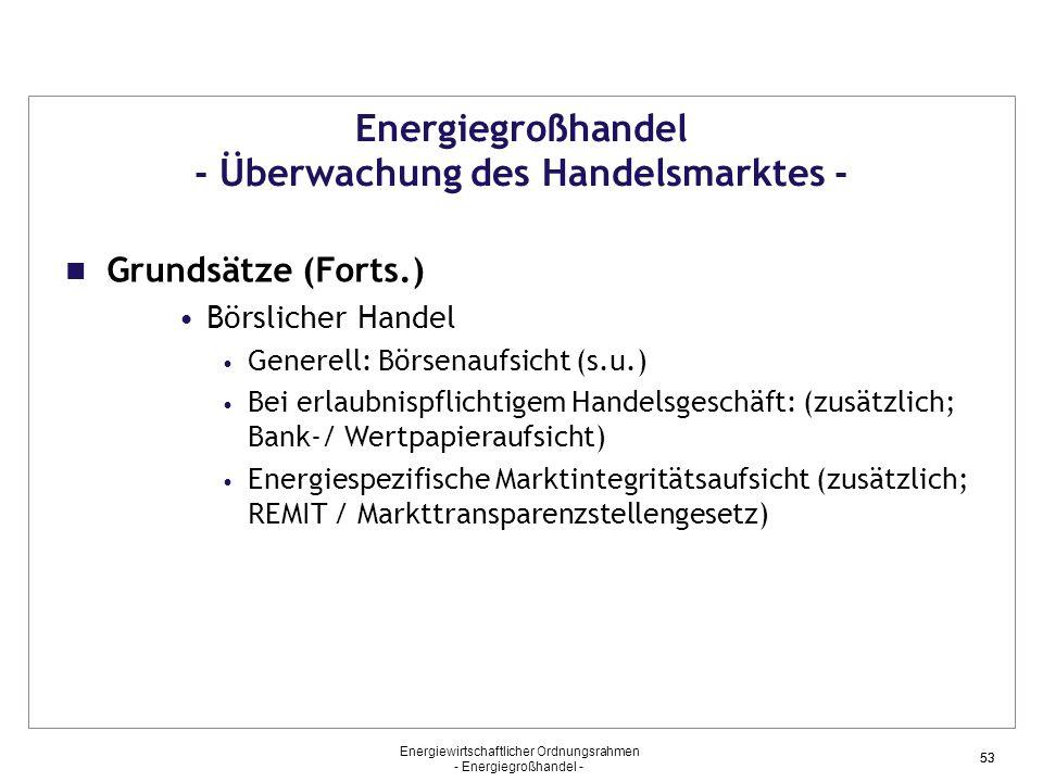 Energiegroßhandel - Überwachung des Handelsmarktes -