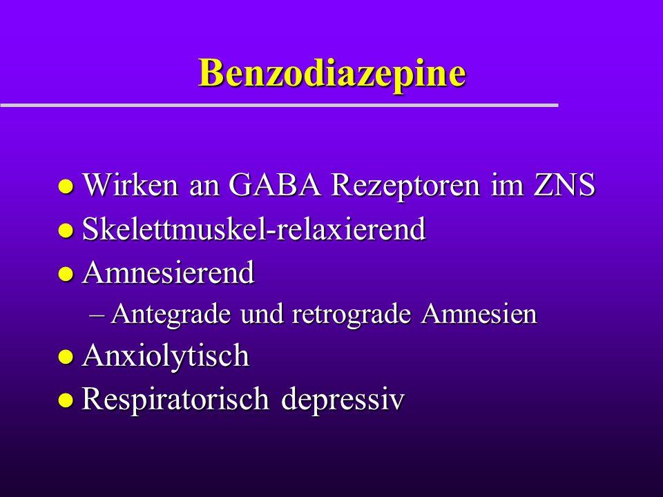 Benzodiazepine Wirken an GABA Rezeptoren im ZNS