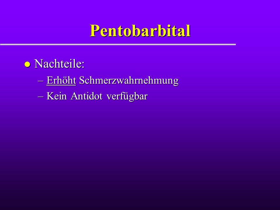 Pentobarbital Nachteile: Erhöht Schmerzwahrnehmung