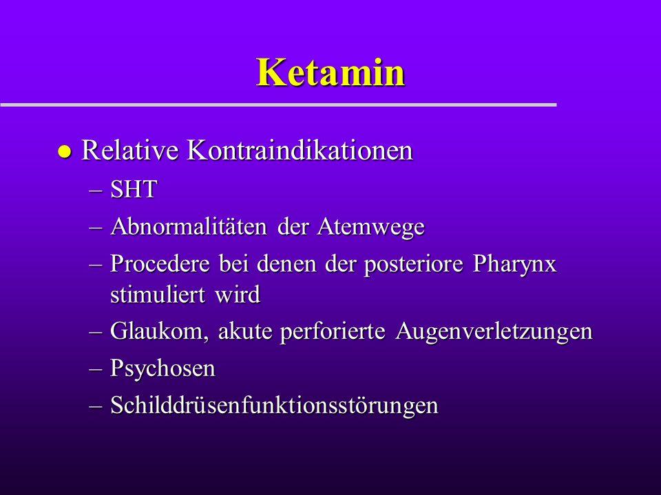 Ketamin Relative Kontraindikationen SHT Abnormalitäten der Atemwege
