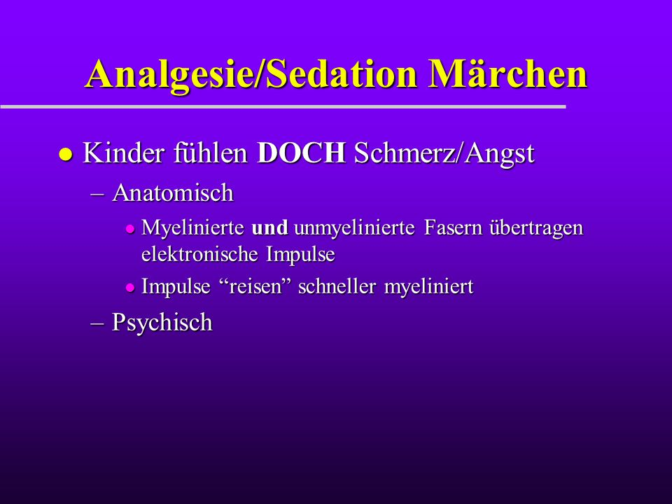 Analgesie/Sedation Märchen