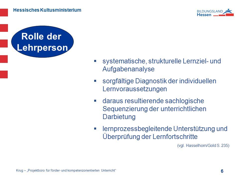 Rolle der Lehrperson. systematische, strukturelle Lernziel- und Aufgabenanalyse. sorgfältige Diagnostik der individuellen Lernvoraussetzungen.