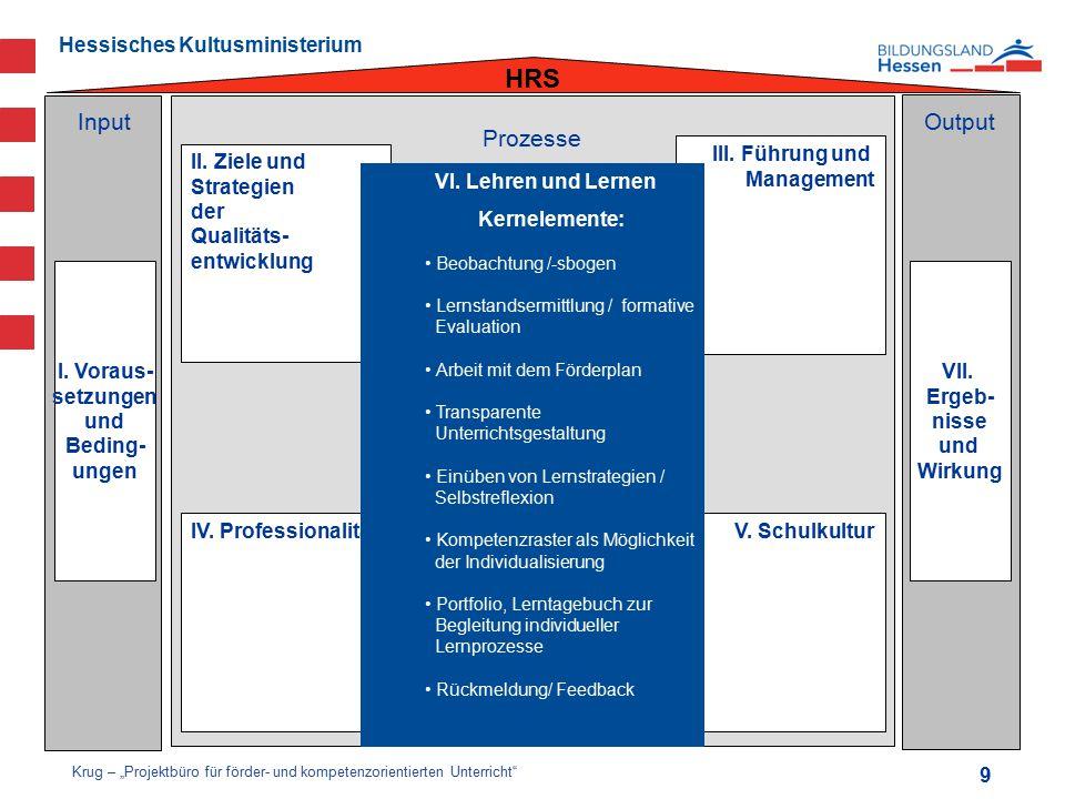 HRS Input Output Prozesse III. Führung und Management II. Ziele und