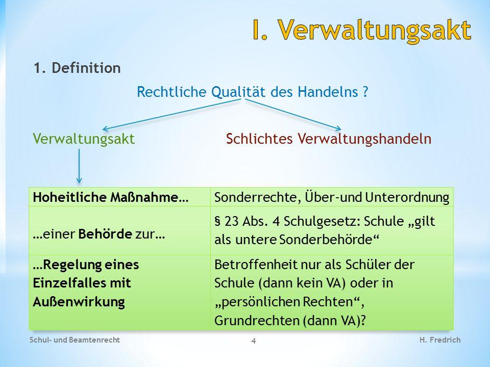 I. Verwaltungsakt 1. Definition Rechtliche Qualität des Handelns Verwaltungsakt Schlichtes Verwaltungshandeln