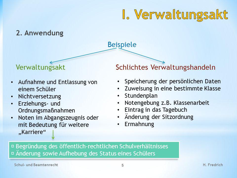I. Verwaltungsakt 2. Anwendung Beispiele Verwaltungsakt Schlichtes Verwaltungshandeln Aufnahme und Entlassung von einem Schüler.